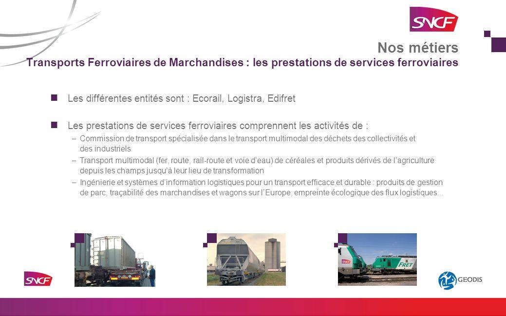 Nos métiers Transports Ferroviaires de Marchandises : les prestations de services ferroviaires.