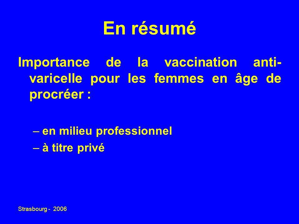En résumé Importance de la vaccination anti-varicelle pour les femmes en âge de procréer : en milieu professionnel.