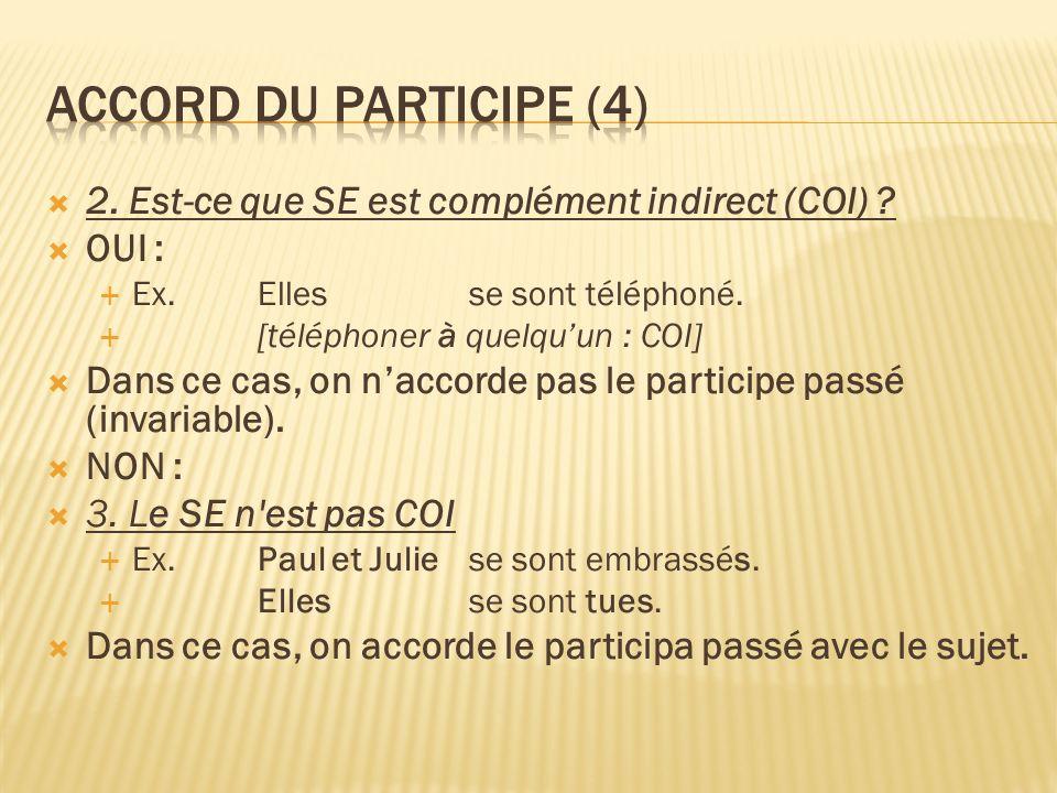 Accord du participe (4) 2. Est-ce que SE est complément indirect (COI) OUI : Ex. Elles se sont téléphoné.