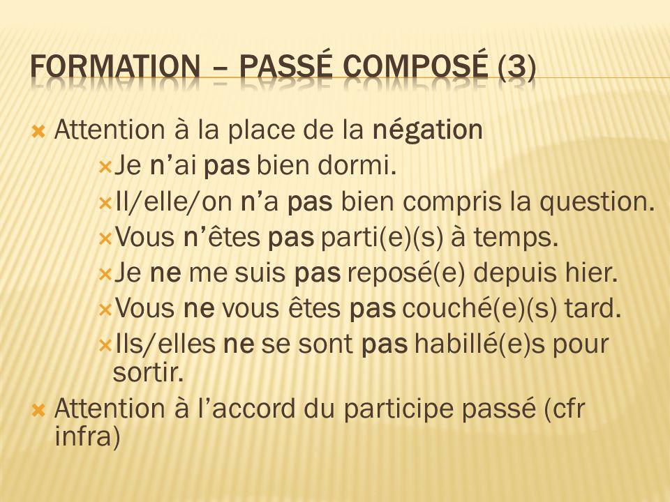 Formation – passé composé (3)