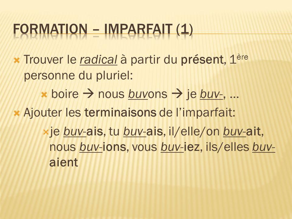 Formation – imparfait (1)