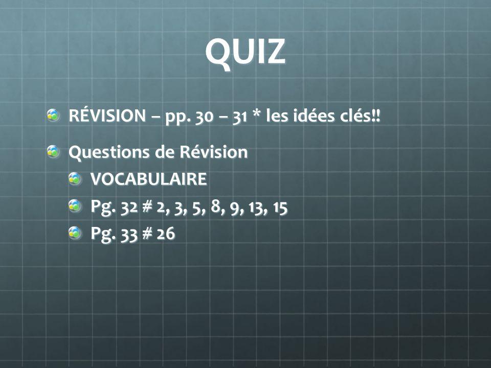 QUIZ RÉVISION – pp. 30 – 31 * les idées clés!! Questions de Révision