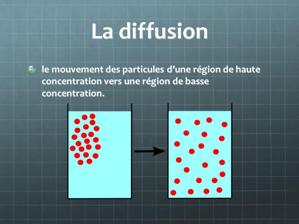 La diffusion le mouvement des particules d'une région de haute concentration vers une région de basse concentration.