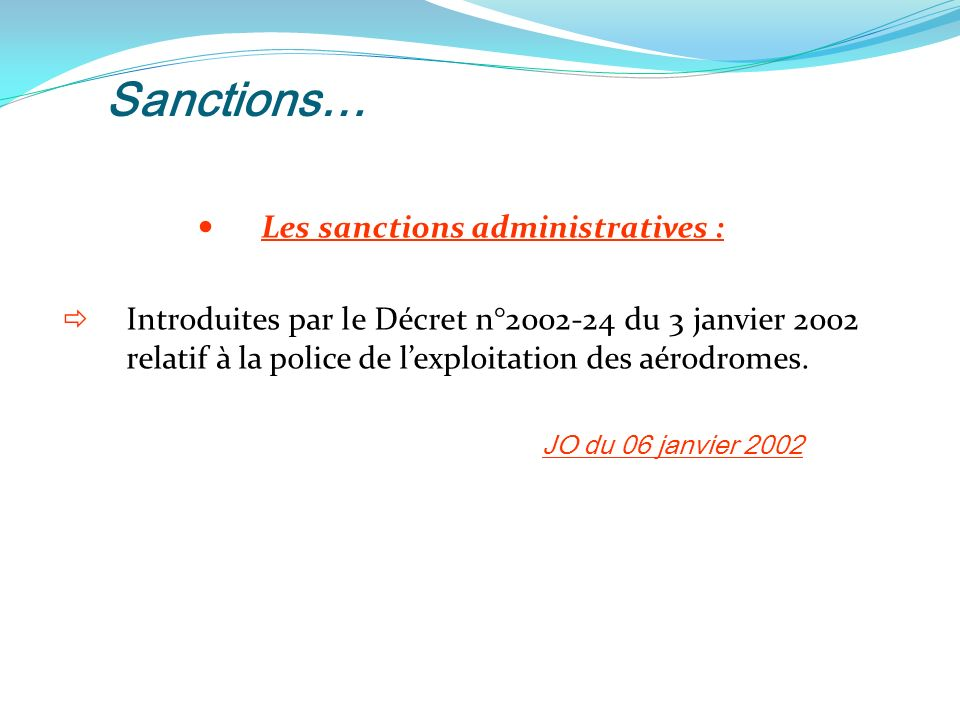 Les sanctions administratives :