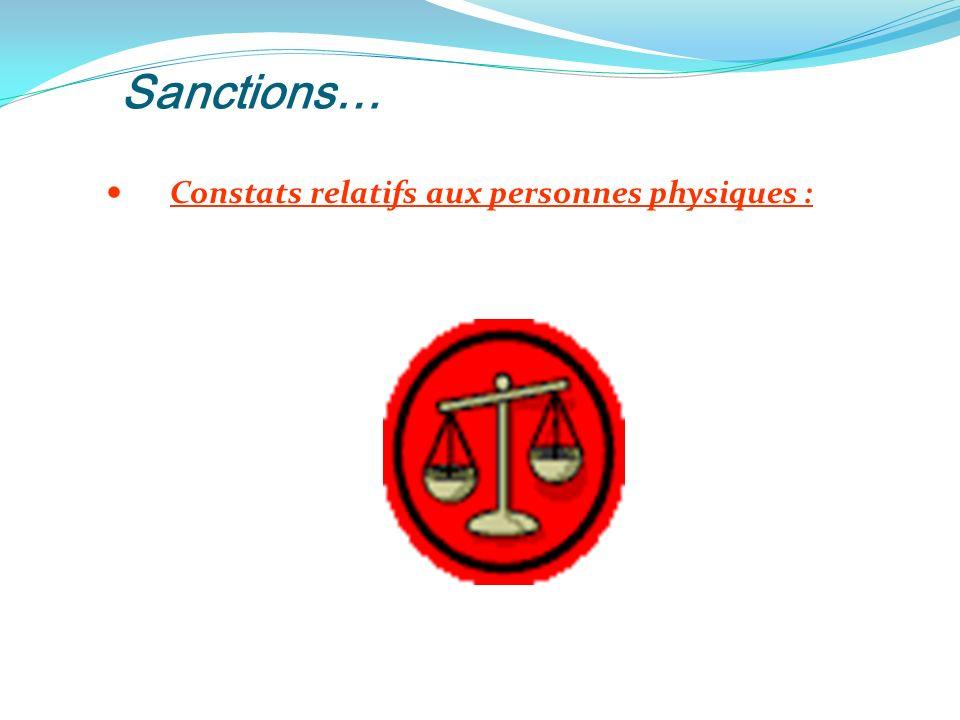 Sanctions… Constats relatifs aux personnes physiques :