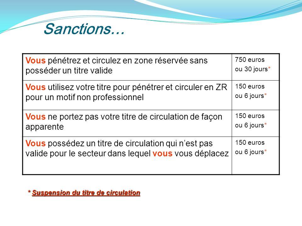 Sanctions… Vous pénétrez et circulez en zone réservée sans posséder un titre valide. 750 euros. ou 30 jours*