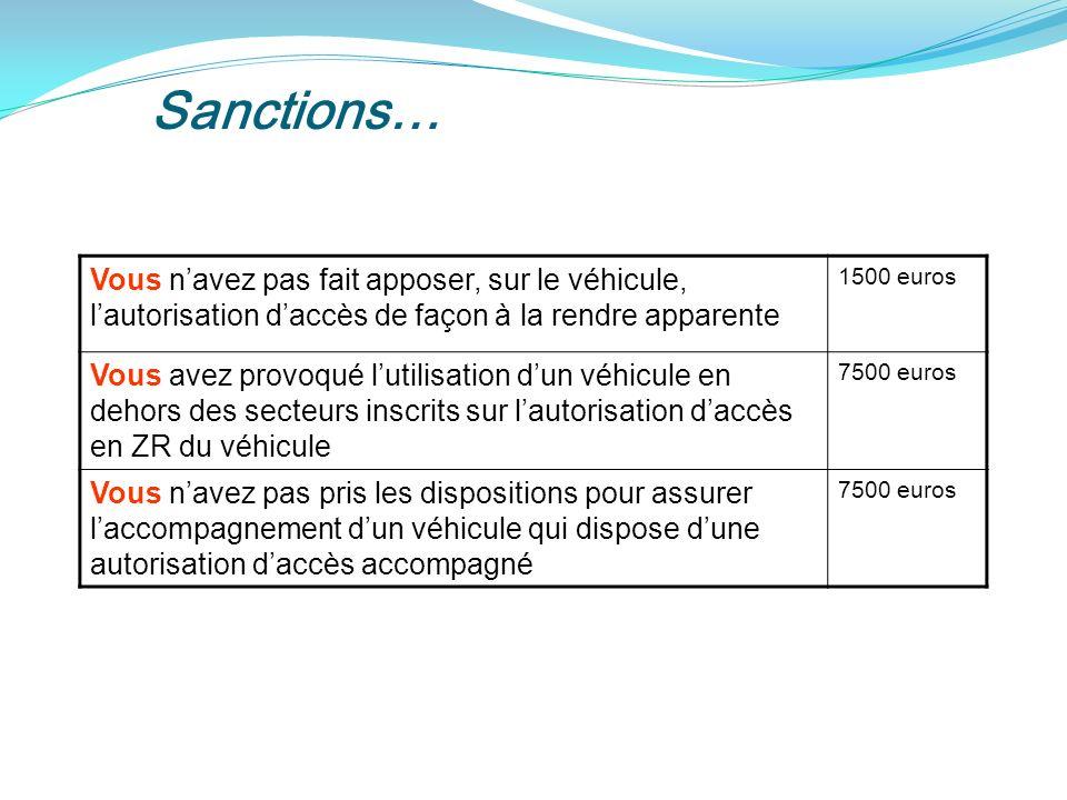 Sanctions… Vous n'avez pas fait apposer, sur le véhicule, l'autorisation d'accès de façon à la rendre apparente.
