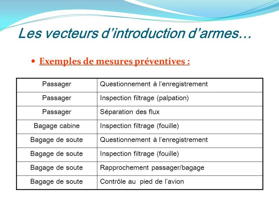 Les vecteurs d'introduction d'armes…