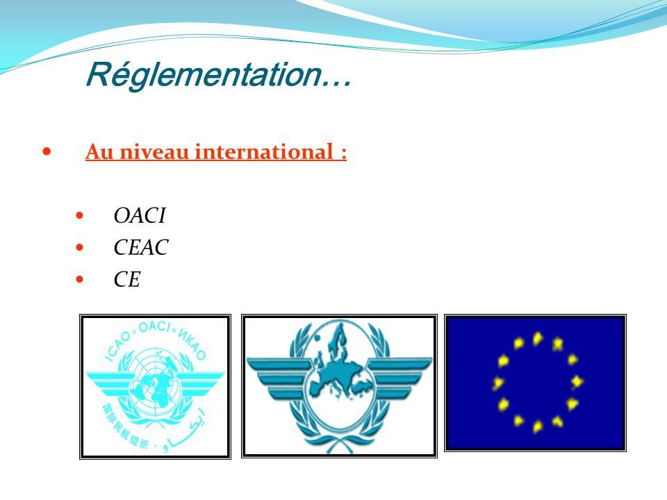 Réglementation… Au niveau international : OACI CEAC CE