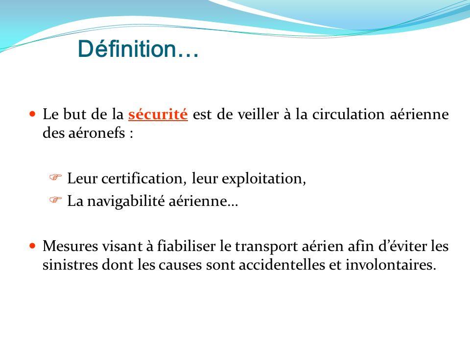 Définition… Le but de la sécurité est de veiller à la circulation aérienne des aéronefs :  Leur certification, leur exploitation,