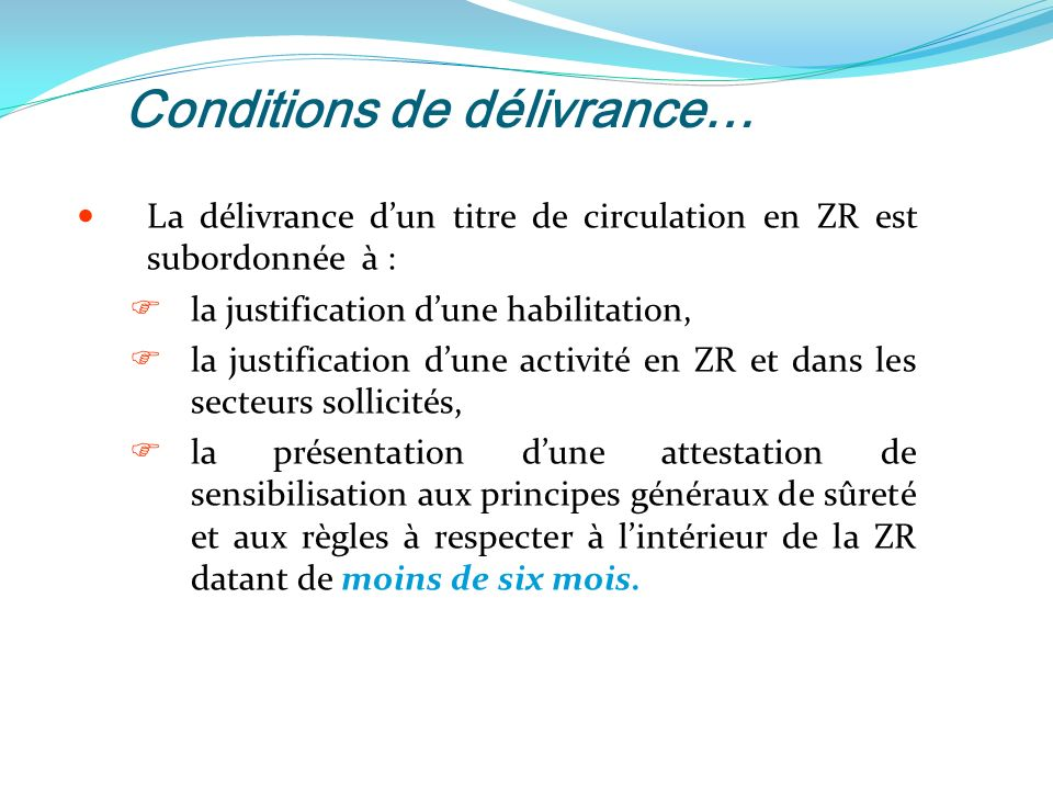 Conditions de délivrance…