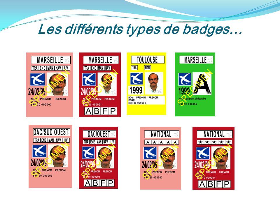 Les différents types de badges…