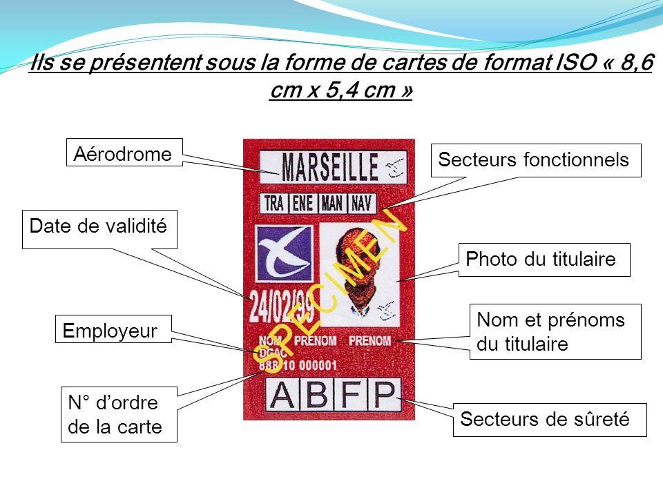 Ils se présentent sous la forme de cartes de format ISO « 8,6 cm x 5,4 cm »
