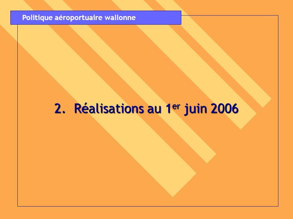 2. Réalisations au 1er juin 2006