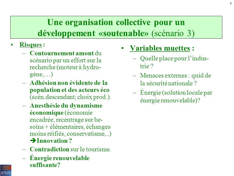 8 Une organisation collective pour un développement «soutenable» (scénario 3) Risques :