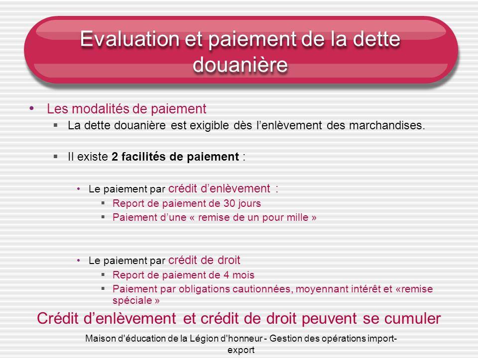 Evaluation et paiement de la dette douanière
