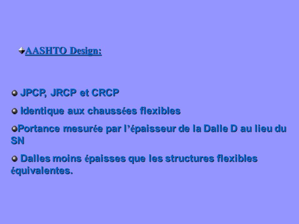 AASHTO Design: JPCP, JRCP et CRCP. Identique aux chaussées flexibles. Portance mesurée par l'épaisseur de la Dalle D au lieu du SN.