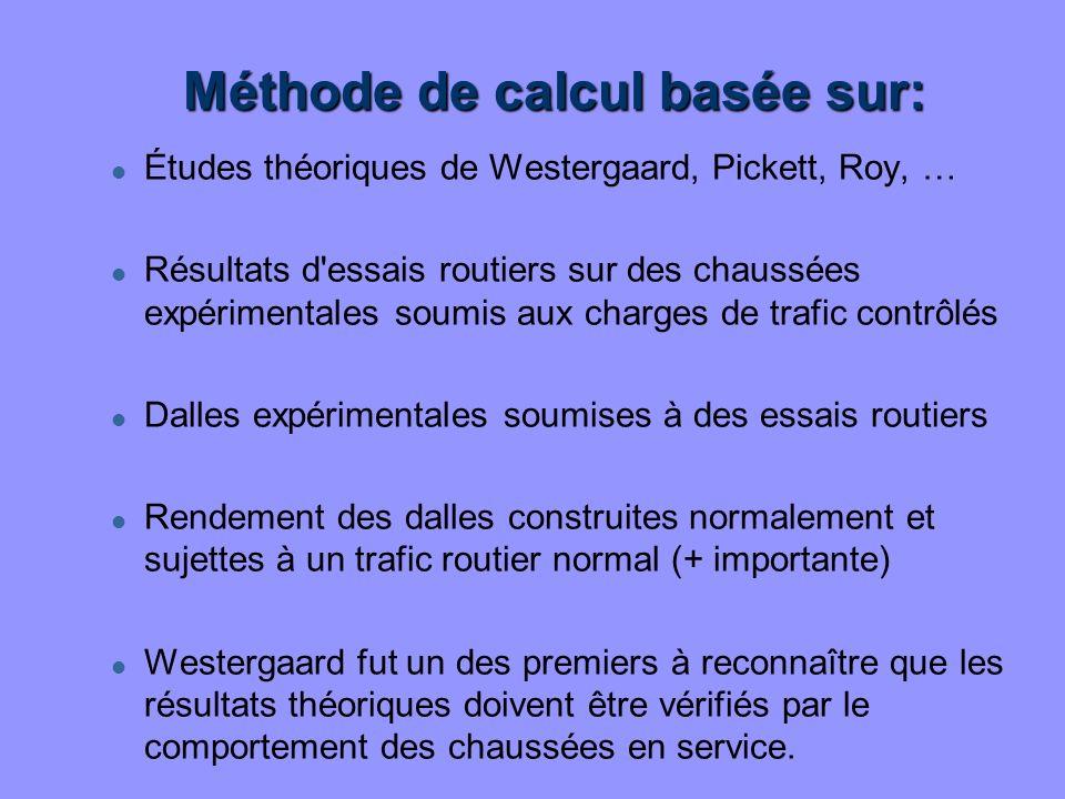 Méthode de calcul basée sur: