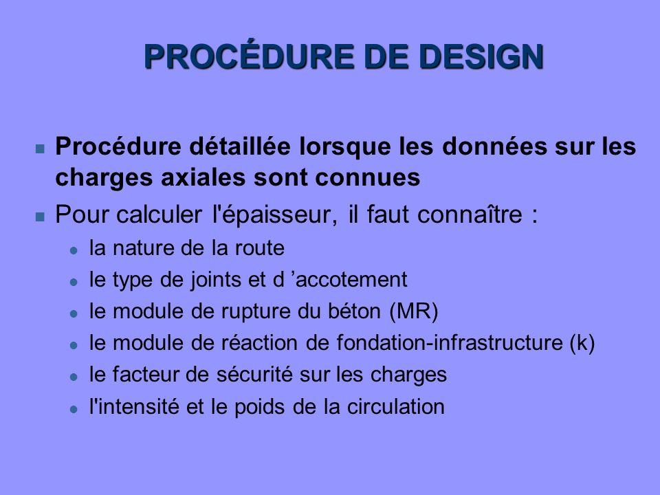 PROCÉDURE DE DESIGN Procédure détaillée lorsque les données sur les charges axiales sont connues. Pour calculer l épaisseur, il faut connaître :