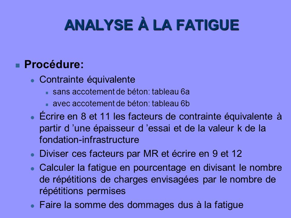 ANALYSE À LA FATIGUE Procédure: Contrainte équivalente