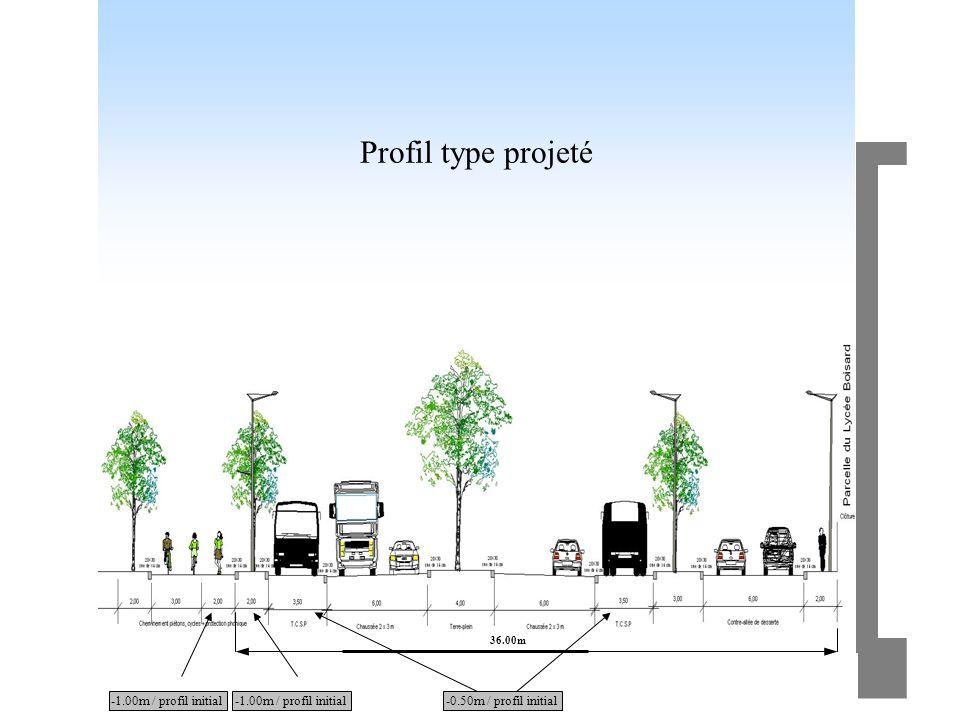 Profil type projeté -1.00m / profil initial -1.00m / profil initial
