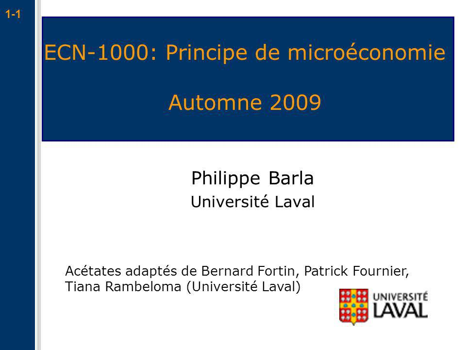 ECN-1000: Principe de microéconomie Automne 2009