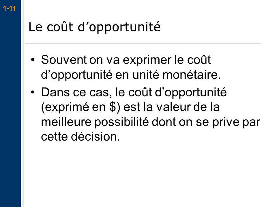 Le coût d'opportunité Souvent on va exprimer le coût d'opportunité en unité monétaire.