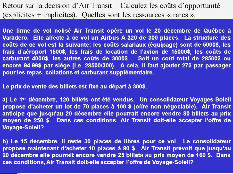 Retour sur la décision d'Air Transit – Calculez les coûts d'opportunité (explicites + implicites). Quelles sont les ressources « rares ».