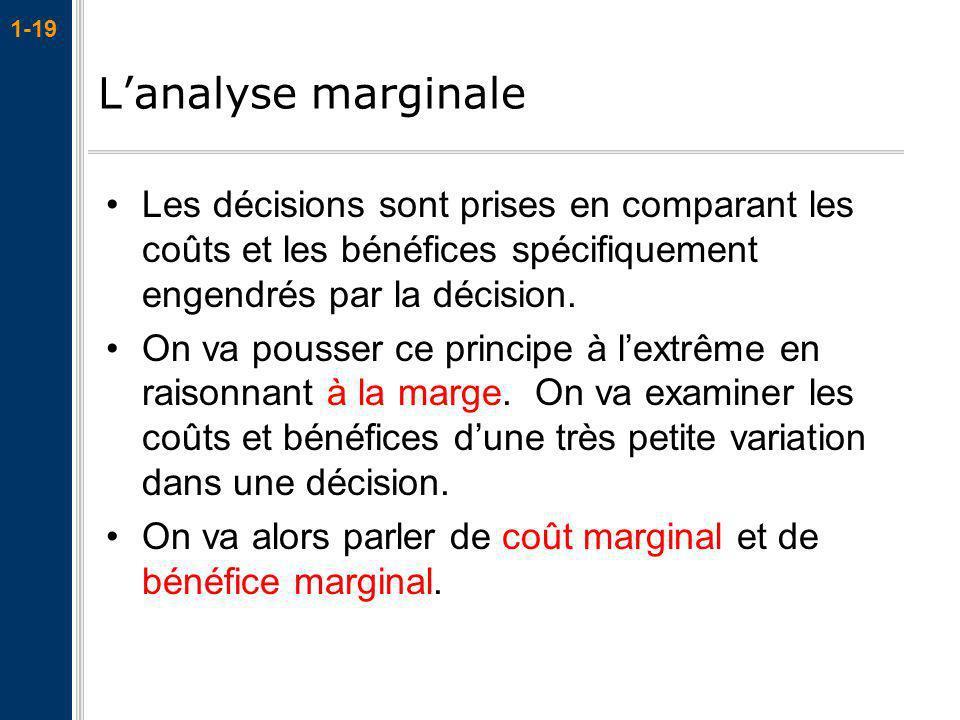 L'analyse marginale Les décisions sont prises en comparant les coûts et les bénéfices spécifiquement engendrés par la décision.