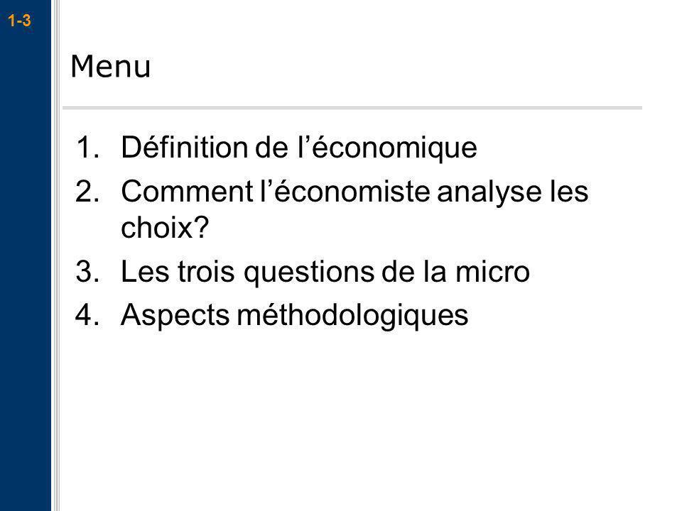 Menu Définition de l'économique. Comment l'économiste analyse les choix Les trois questions de la micro.