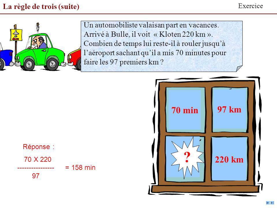 70 min 97 km 220 km La règle de trois (suite)