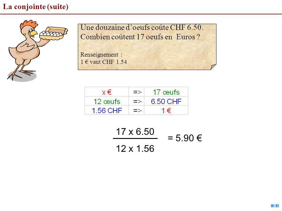 17 x 6.50 12 x 1.56 = 5.90 € La conjointe (suite)