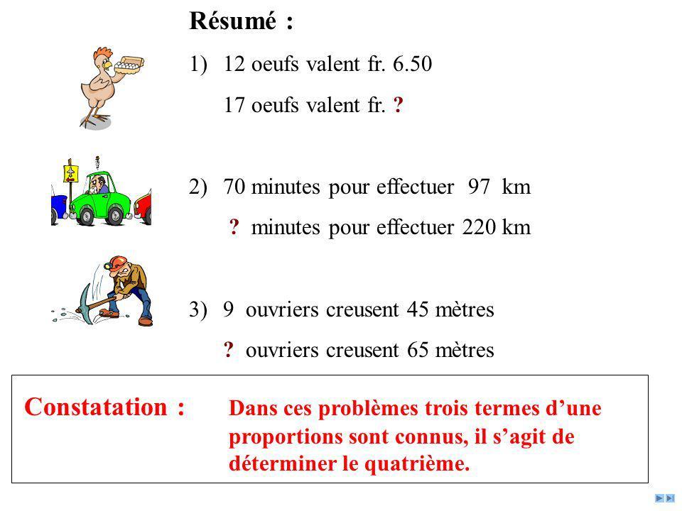 Résumé : 12 oeufs valent fr. 6.50. 17 oeufs valent fr. 70 minutes pour effectuer 97 km. minutes pour effectuer 220 km.