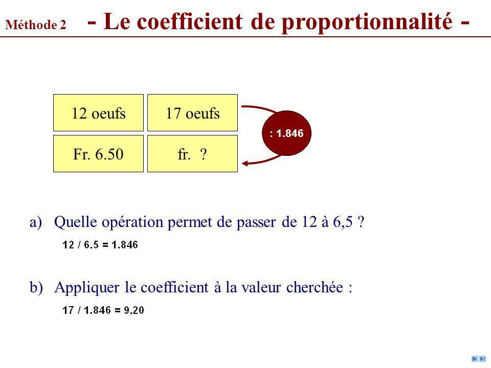 a) Quelle opération permet de passer de 12 à 6,5