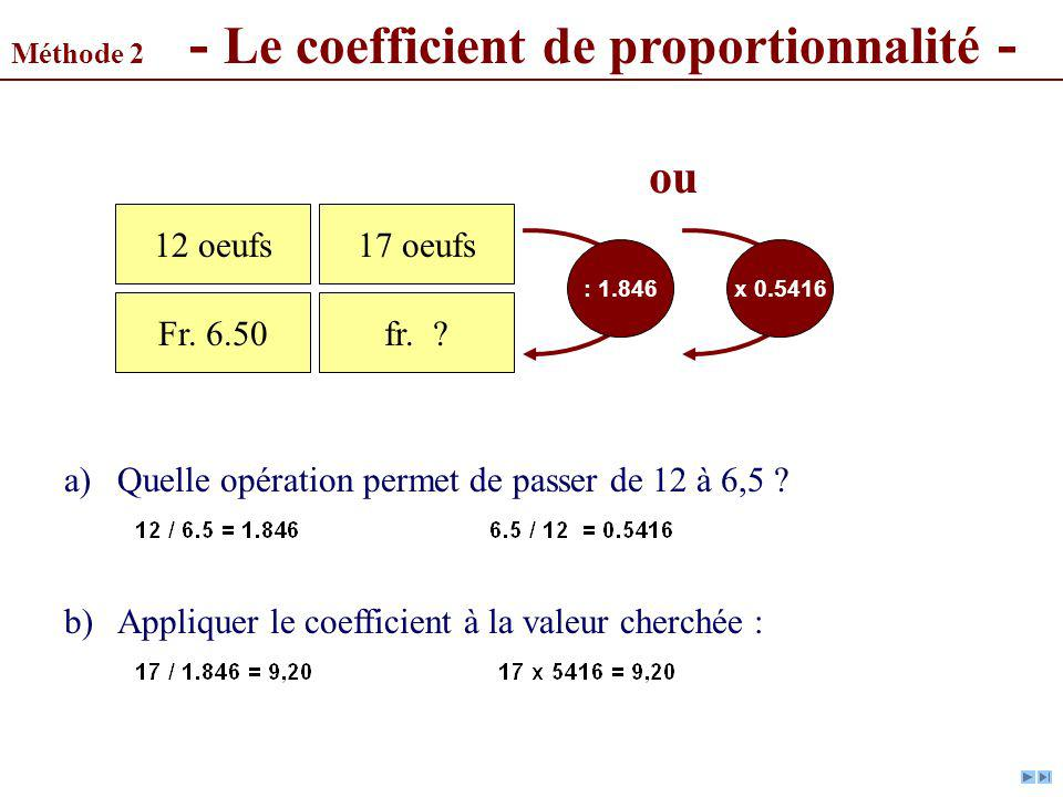 Méthode 2 - Le coefficient de proportionnalité -
