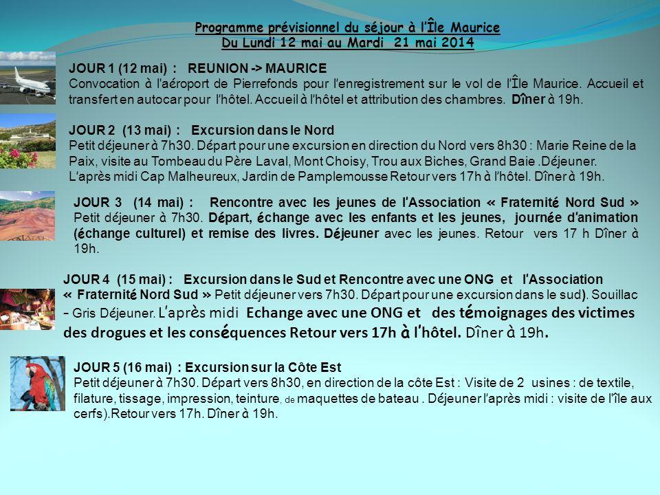Programme prévisionnel du séjour à l'Île Maurice