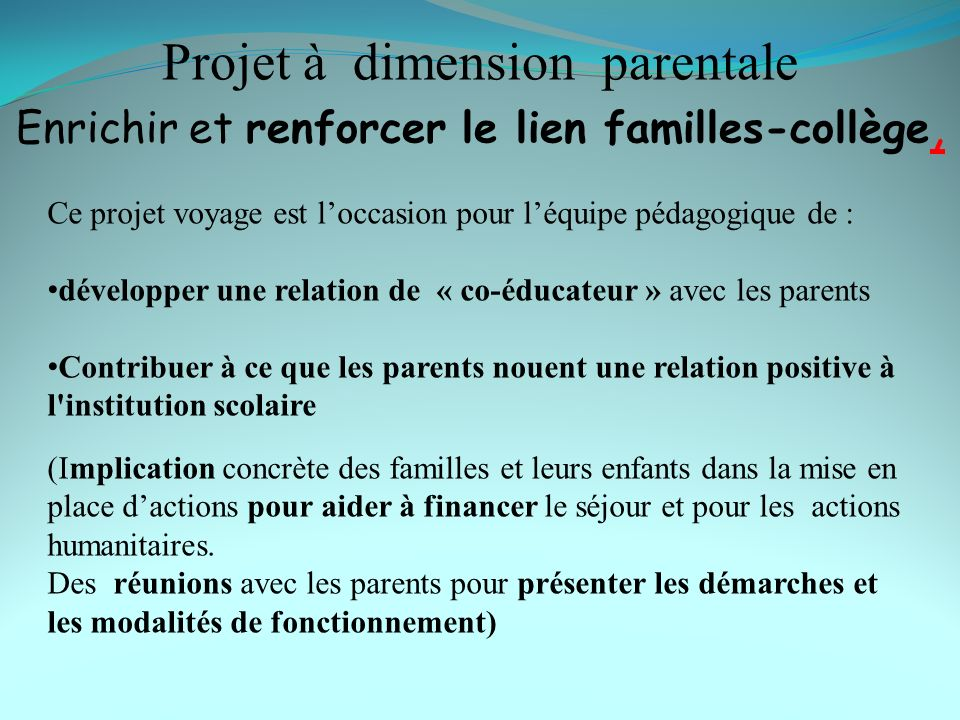 Projet à dimension parentale