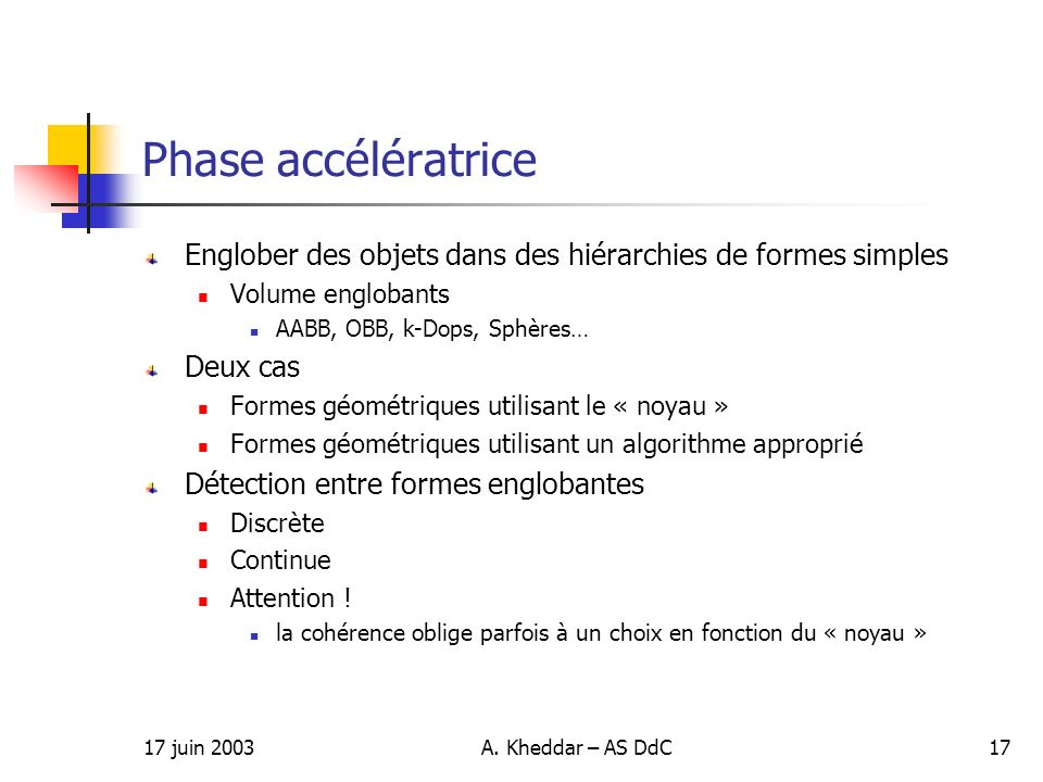 Phase accélératriceEnglober des objets dans des hiérarchies de formes simples. Volume englobants. AABB, OBB, k-Dops, Sphères…