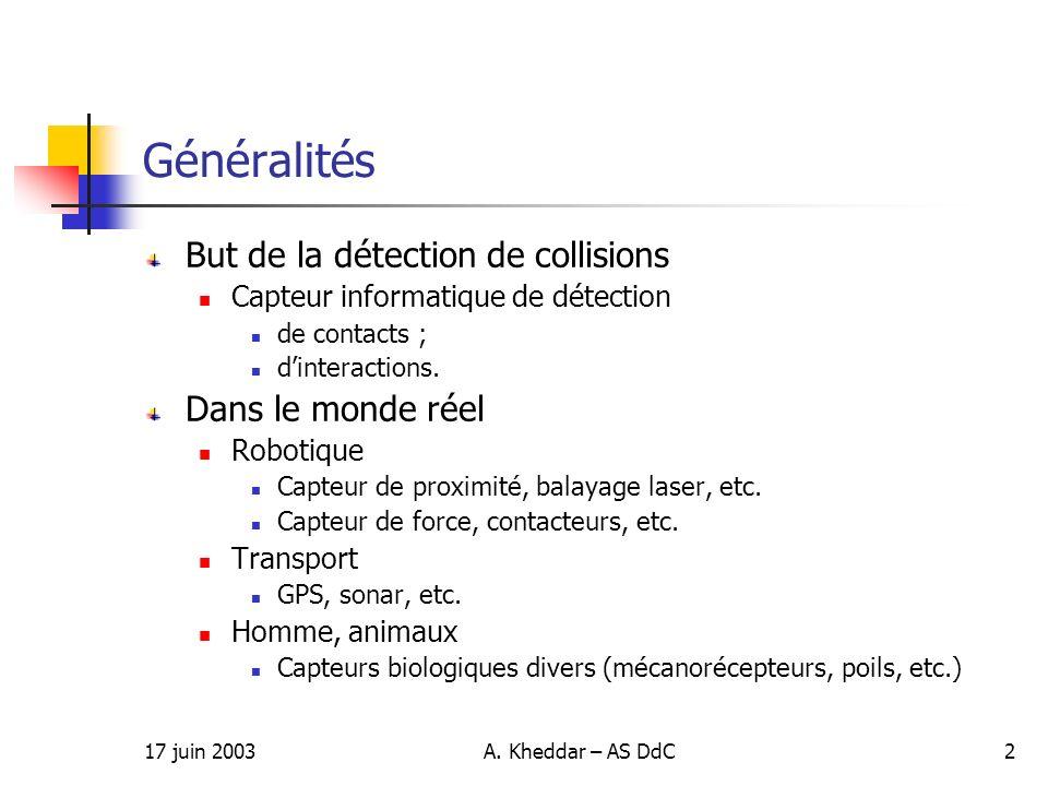 Généralités But de la détection de collisions Dans le monde réel