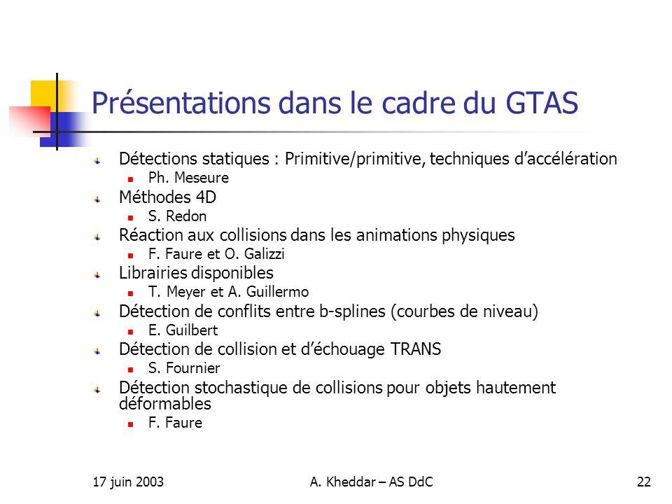 Présentations dans le cadre du GTAS