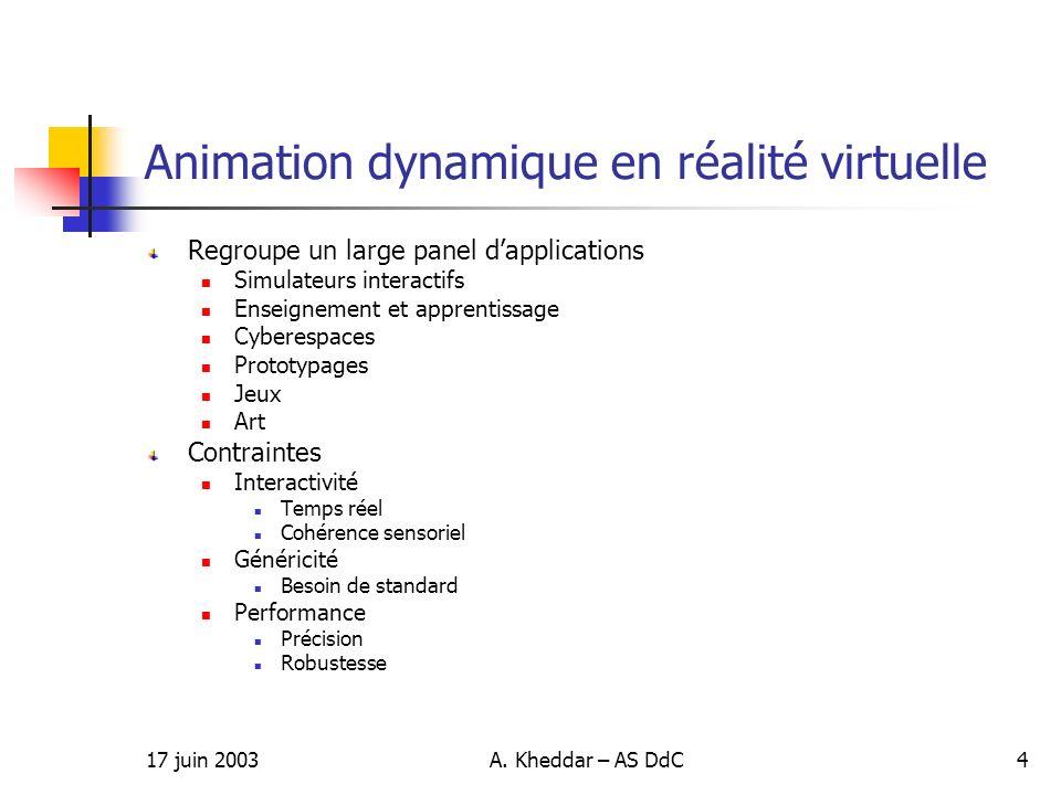 Animation dynamique en réalité virtuelle