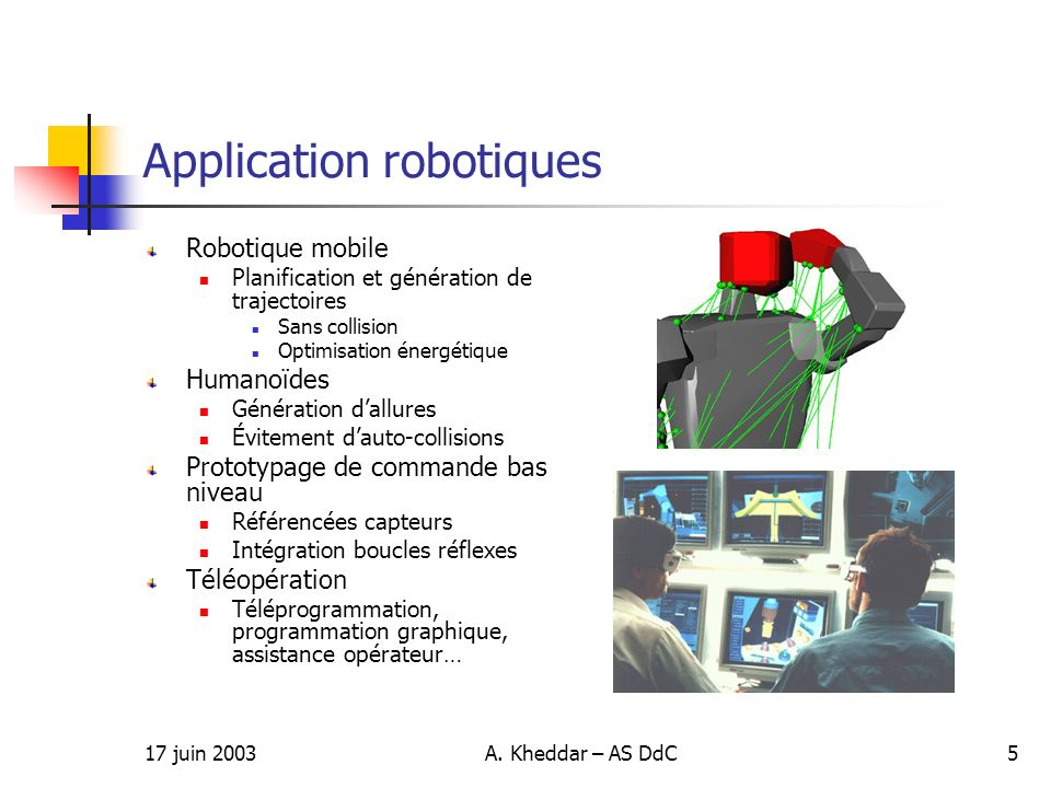Application robotiques
