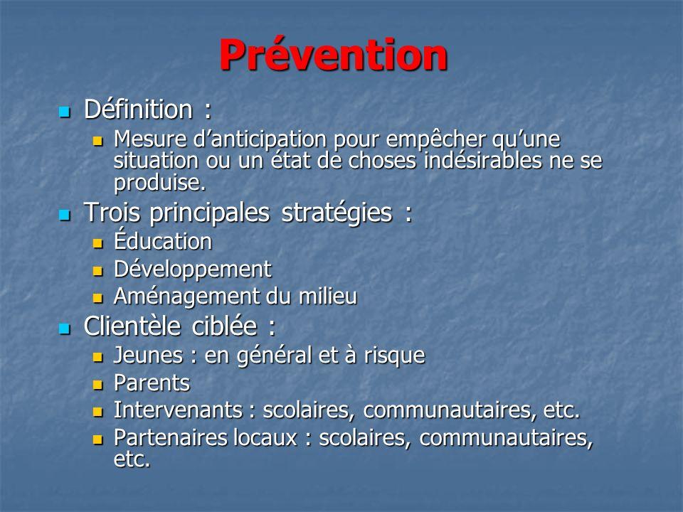 Prévention Définition : Trois principales stratégies :