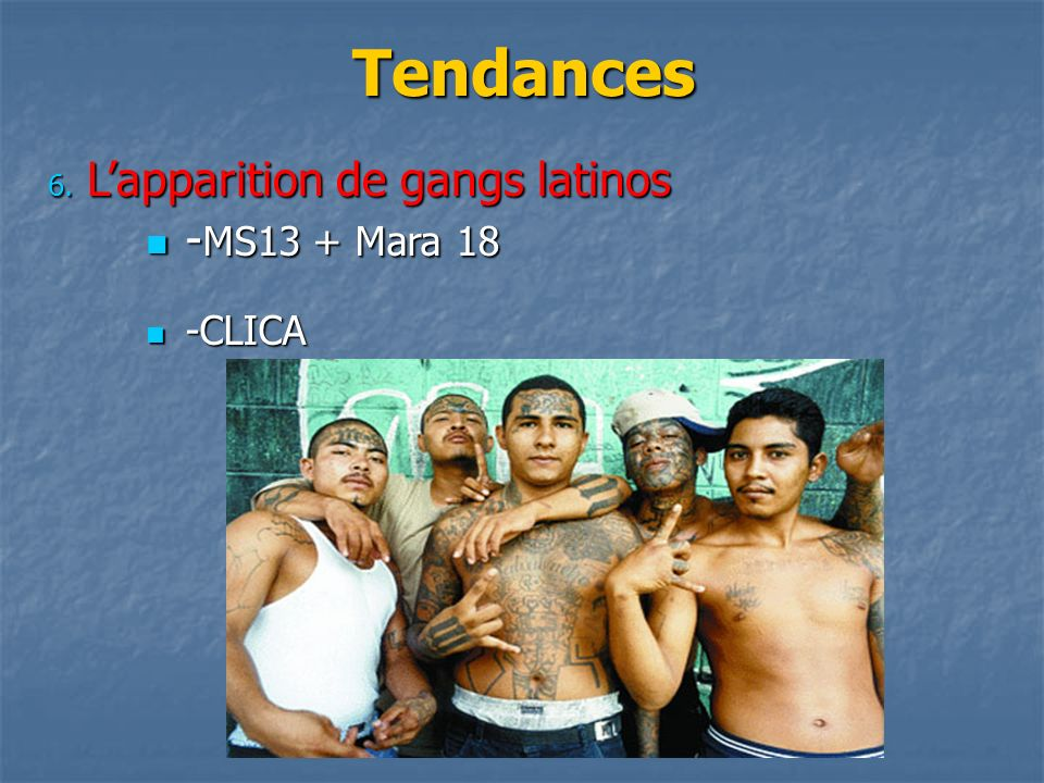 Tendances L'apparition de gangs latinos -MS13 + Mara 18 -CLICA