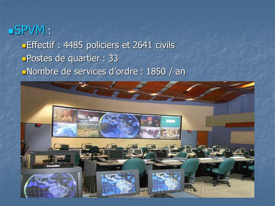 SPVM : Effectif : 4485 policiers et 2641 civils
