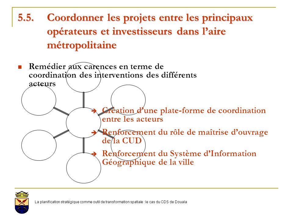 5. 5. Coordonner les projets entre les principaux