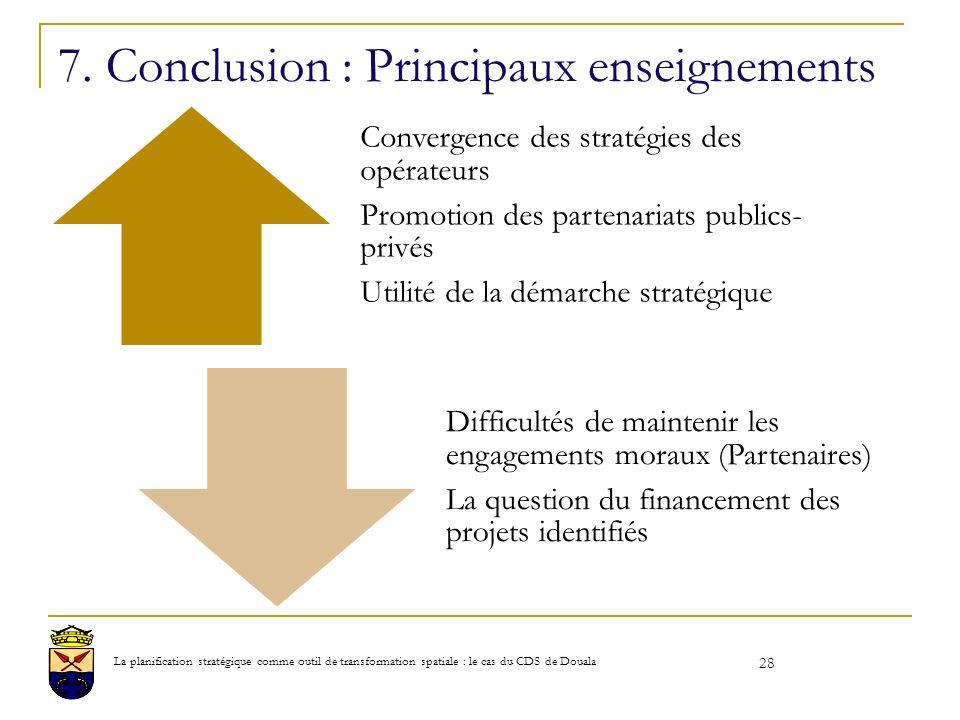 7. Conclusion : Principaux enseignements