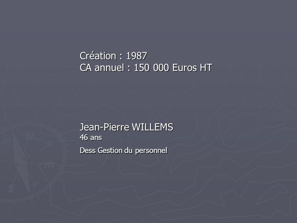 Création : 1987 CA annuel : 150 000 Euros HT Jean-Pierre WILLEMS 46 ans Dess Gestion du personnel