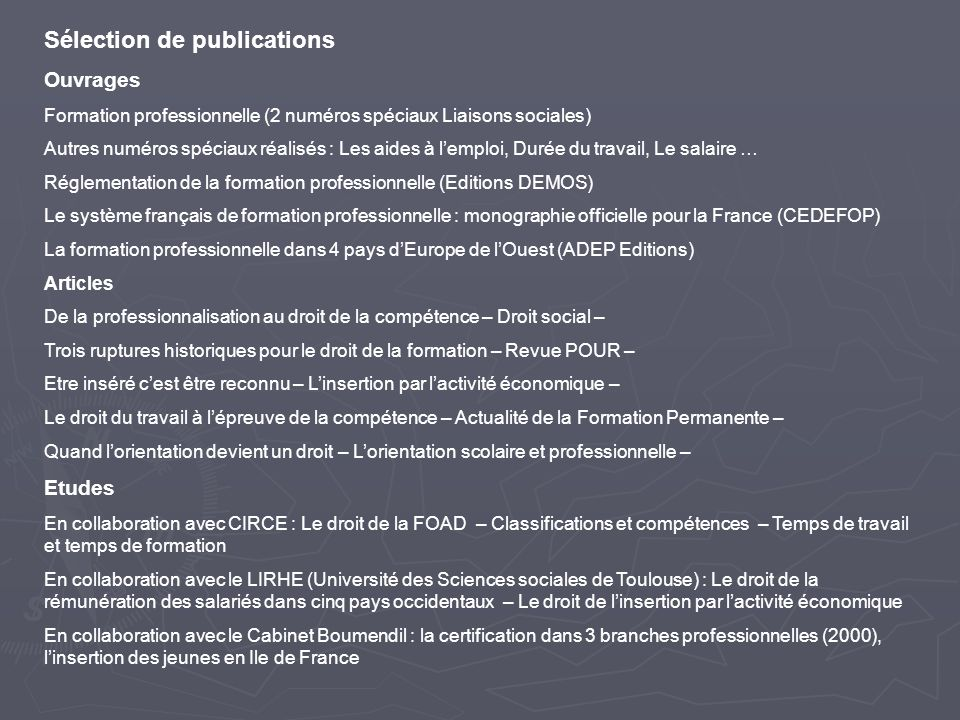 Sélection de publications