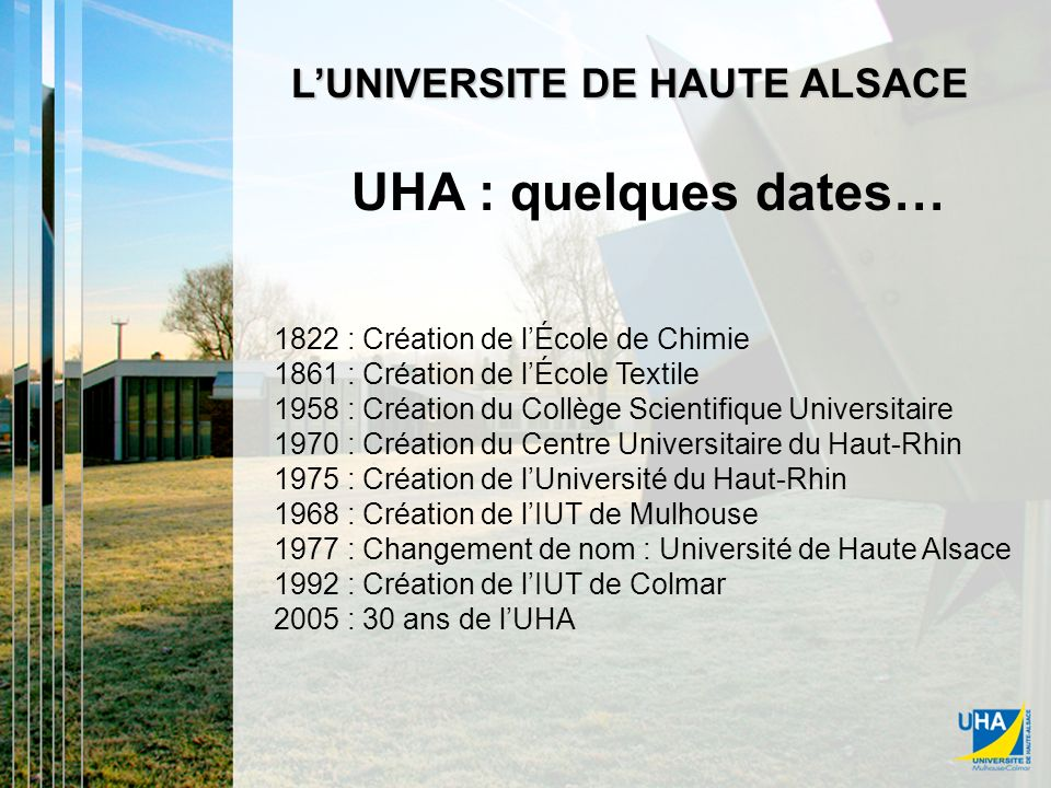 UHA : quelques dates UHA : quelques dates…
